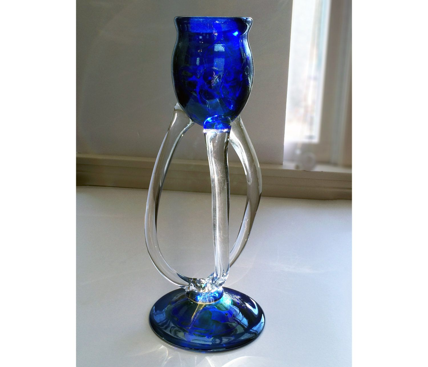 Stephen fellerman tall legged art glass candle holder blown
