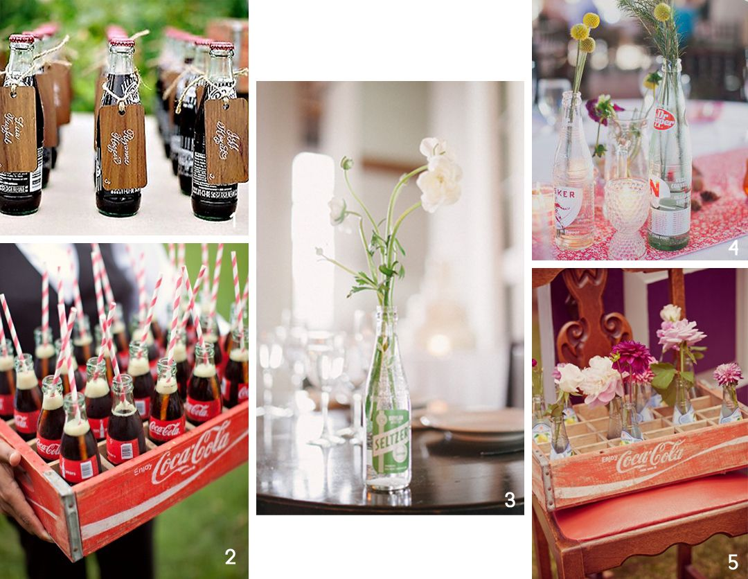 Great use of vintage or vintage-style soda bottles for a retro wedding!
