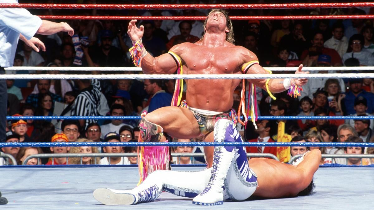 Ultimate Warrior vs Randy Savage WM 7 | Warriors vs, Pro wrestling, Ultimate warrior