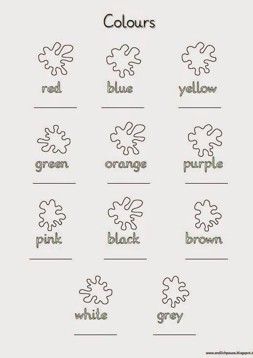 Arbeitsblätter Numbers Colours : Schreibblatt colours schule pinterest englisch