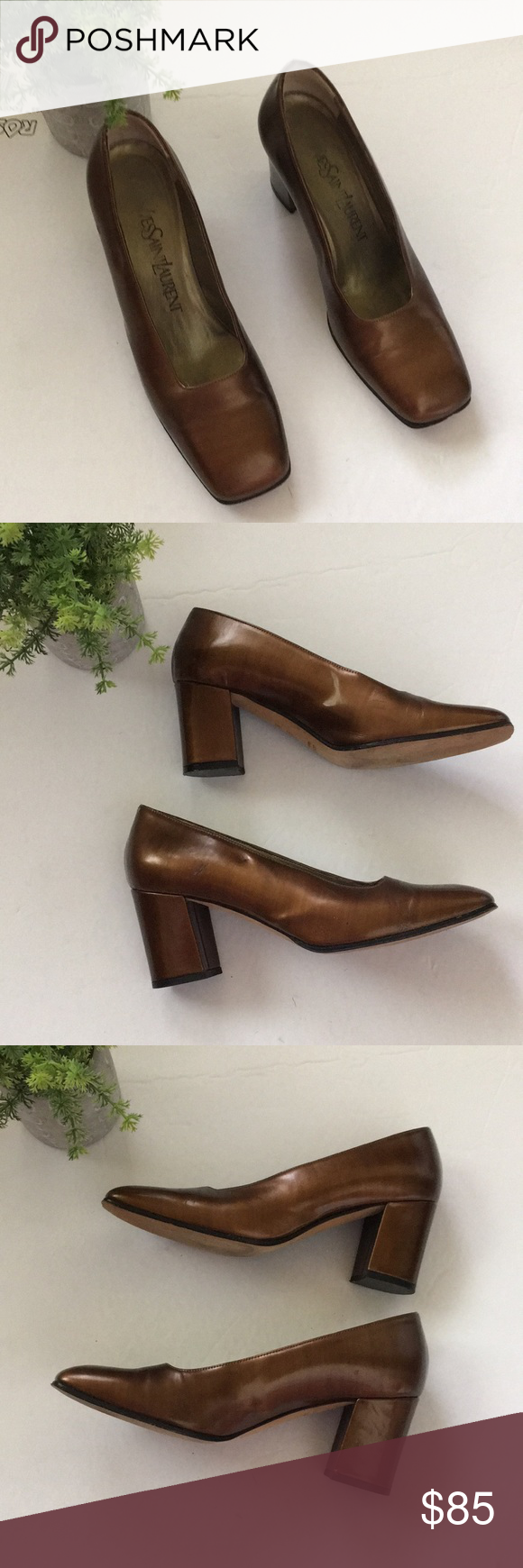 """YVES SAINT LAURENT metallic leather bronze pumps Good vintage condition Smoke/pet free home Gorgeous bronze copper brown metallic leather 2 scratch marks on left side of right shoe (price reflects) 2 1/2"""" block heel Square toe Size 5 M Made in italy I video packaging and shipping for your protection and mine Yves Saint Laurent Shoes Heels #metallicleather"""