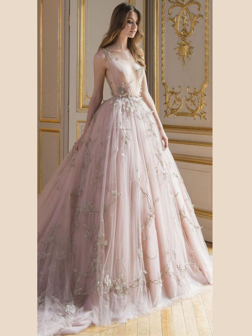 chic aline prom dresses v neck pink long prom dress evening