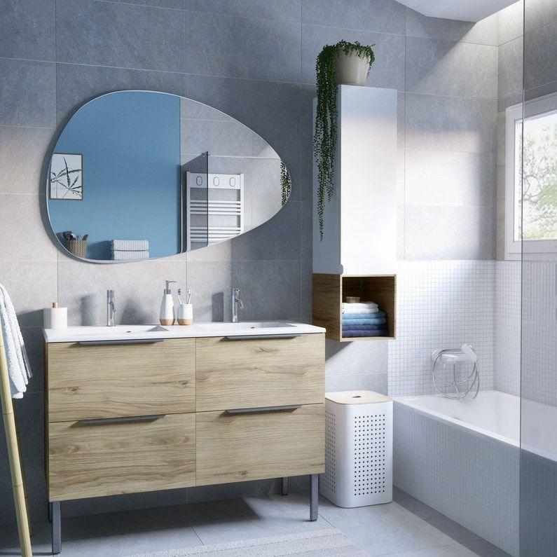Un Meuble Vasque Et Une Colonne Depareillee Leroy Merlin En 2020 Meuble Double Vasque Salle De Bain Meuble De Salle De Bain