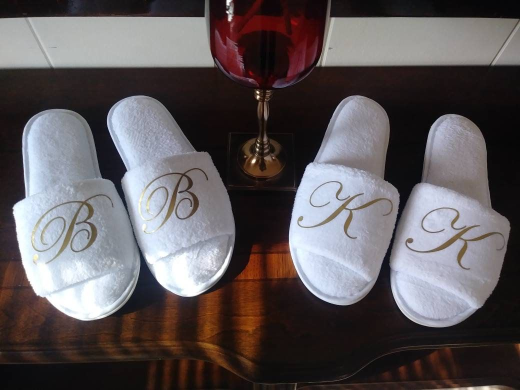 325dc9804e216 Monogram Slippers - Personalized Slippers with Bridesmaid Initials ...