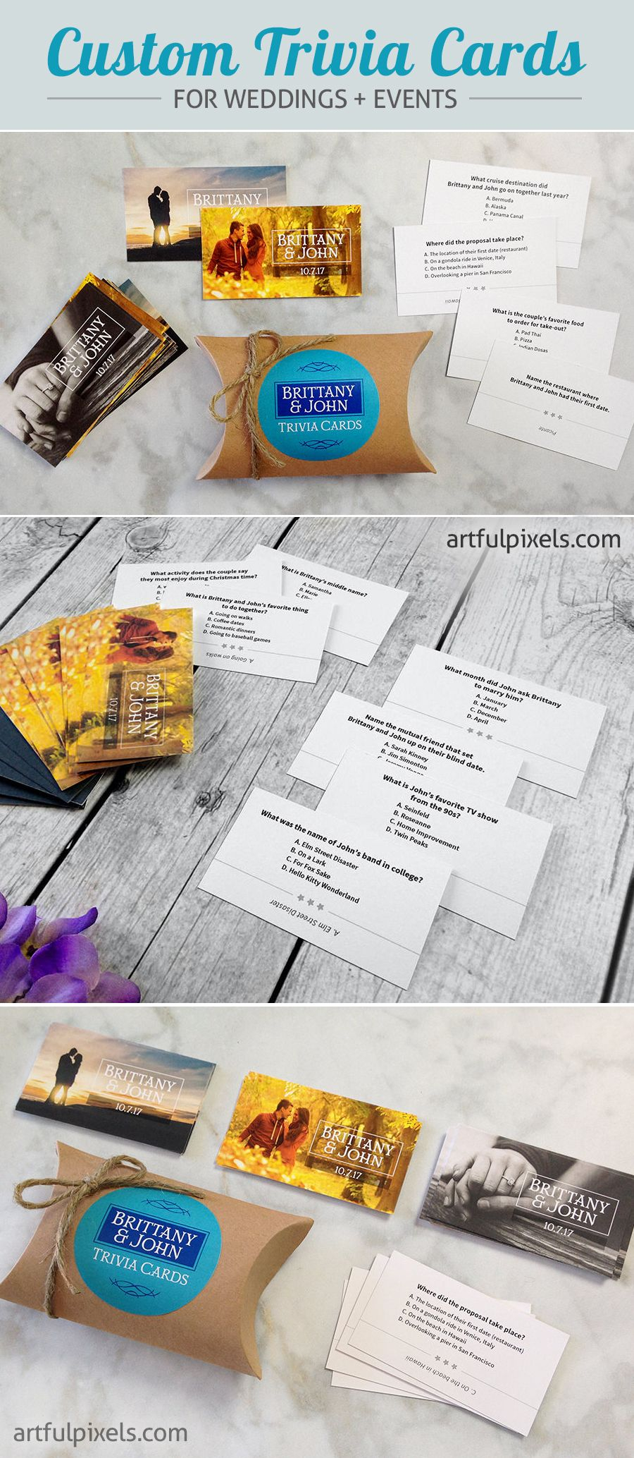 Wedding Trivia Game Cards! Printed trivia questions, fun reception ...