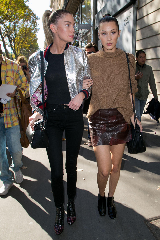 d40d8e8e1e9 Bella Hadid and Stella Maxwell leave the Balmain SS16 Paris Fashion Week  show with super-high ponytails.