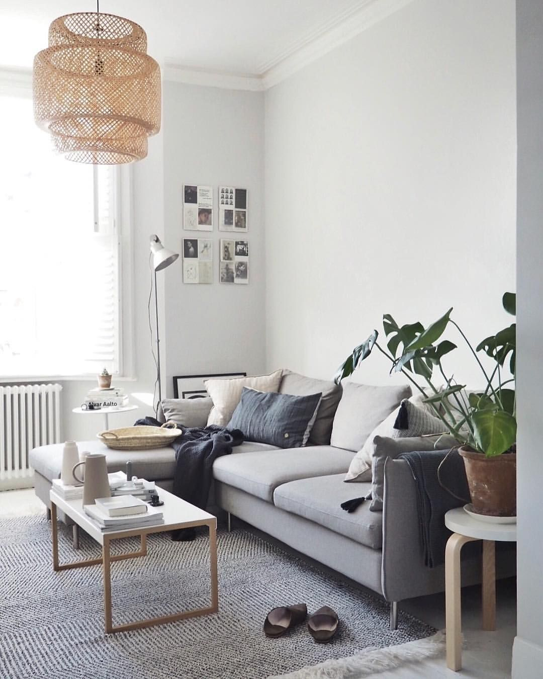 Light Scandi Living Room With A L Shaped Grey Sofa And Soft Textures Small Space Living Room Scandinavian Design Living Room Living Room Scandinavian