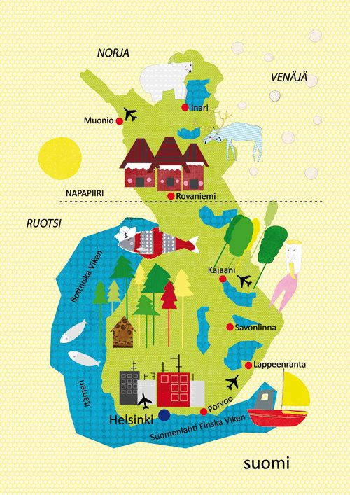 Finland Map Illustration Size A4 11 8x8 3 Inches Norja Suomi Ja