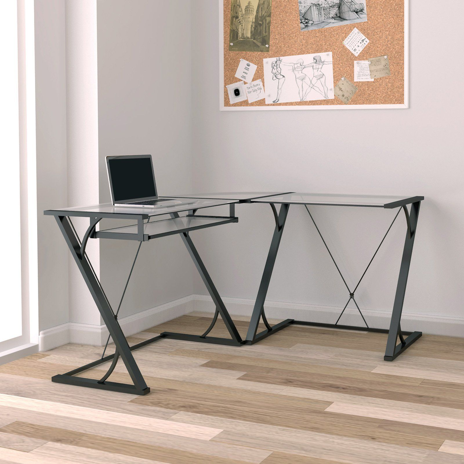 Bello Snyder L Shaped Computer Desk With Keyboard Tray Black  # Muebles Caemmun