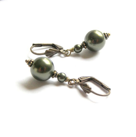 Classic Dark Green Swarovski Single Pearl Drop by LunaEssence, $23.75