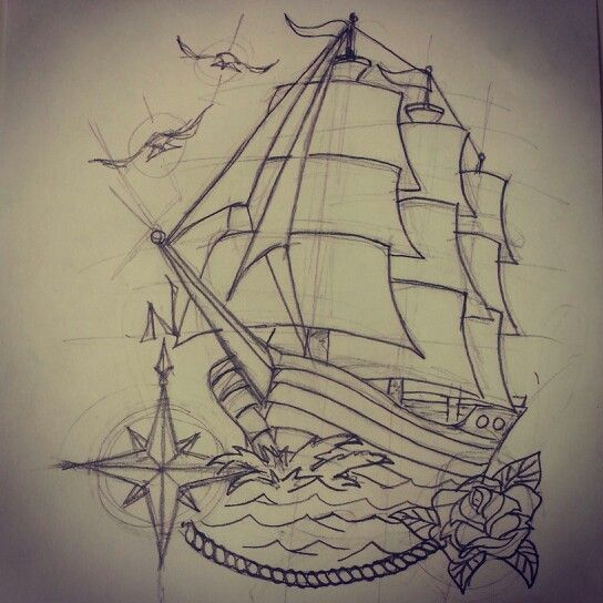 Traditional ship tattoo (roug… | Tattoo Art / Sketches ...