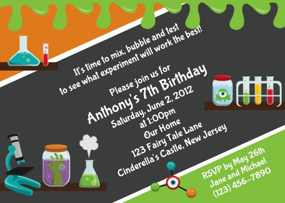 Mad science invitation personalized custom laboratory mad science mad science invitation personalized custom laboratory mad science birthday invitation print your own filmwisefo