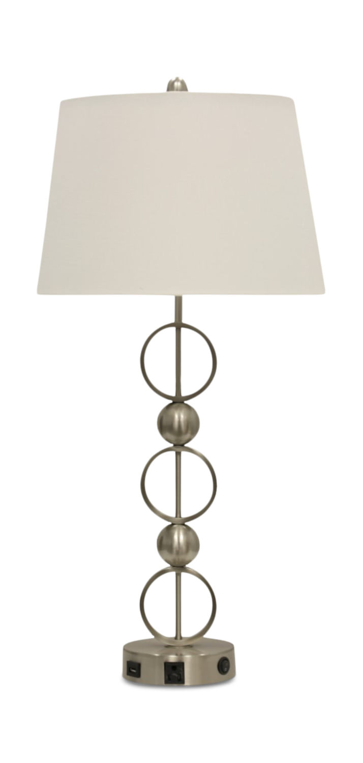Metal Usb Table Lamp With Outlet Table Lamp Metal Lamp Bases