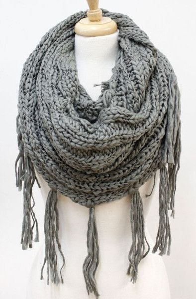 Thick Knit Infinity Scarf with Fringe - Grey