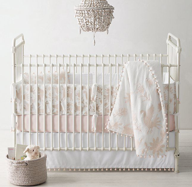 Botànica Embroidered Washed Linen Cotton Nursery Bedding Collection