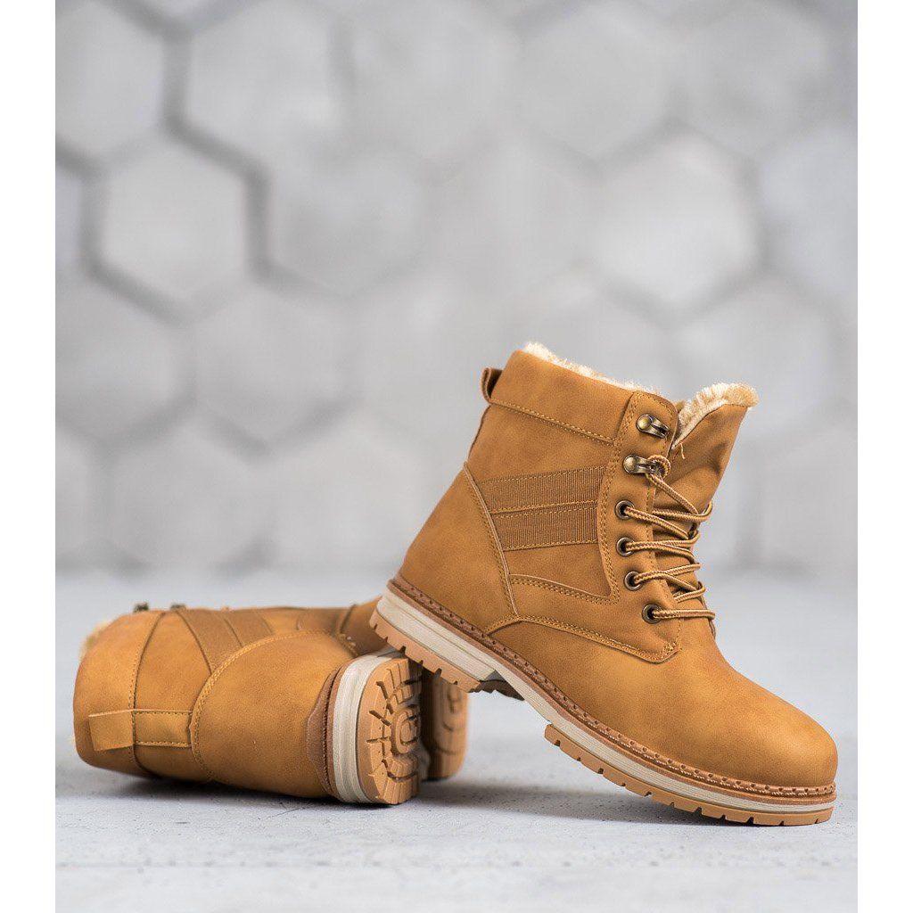 Shelovet Camelowe Buty Zimowe Brazowe Wielokolorowe Boots Timberland Boots Shoes