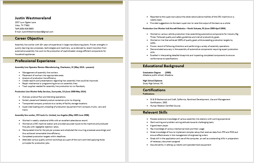 Assembly Line Worker Resume Sample Template With Here Preview Free