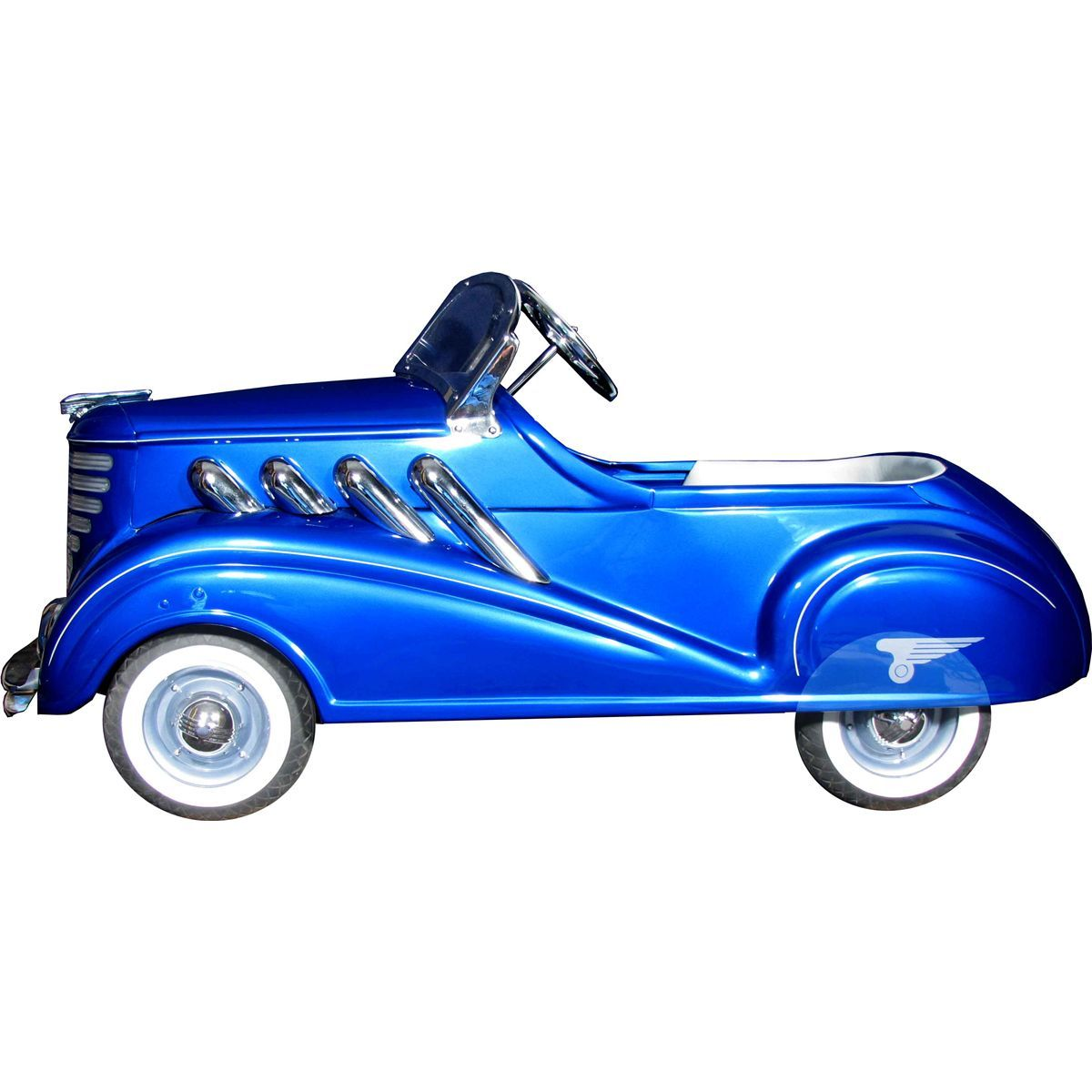 1937 Steelcraft Auburn Super Charger Deluxe Pedal Car Honolulu Blue And Silver Chrome Exhaust Pipes Windshield Bumper Vintage Pedal Cars Pedal Cars Pedal