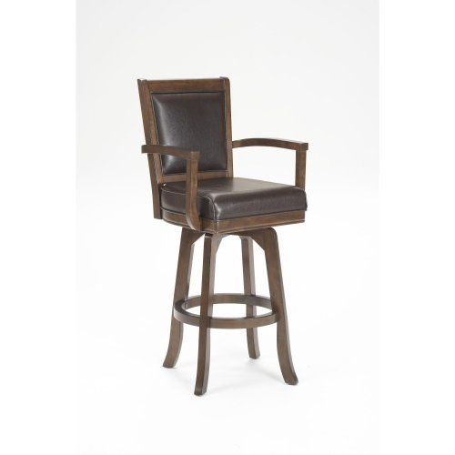 Hillsdale Ambassador Swivel Bar Stool by Hillsdale. $299.00. Other Dimensions 30 in. Seat Height. Rich Cherry. Style Transitional. Assembled Dimensions 46.5 in. H x 22.75 in. W x 22 in. D. A perfect seat for your transitional kitchen or bar area, the Ambassador barstool features a rich cherry finish and supple brown leather. The seat and back are padded for additional comfort and armrests and footrests offer stability. Great for kitchen counter or bar use. Desig...