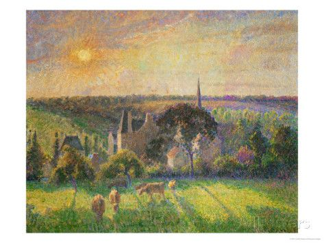 Landscape at Eragny: Church and Farm, 1895 Giclee Print by Camille Pissarro at AllPosters.com