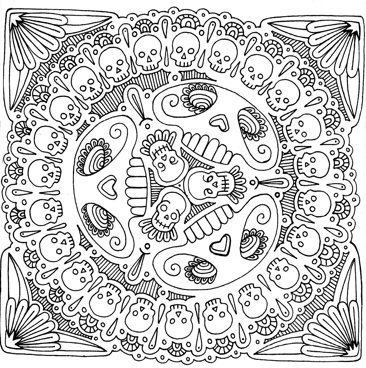 american hippie art coloring pages skull mandala coisas
