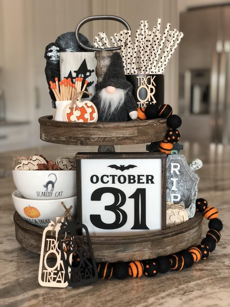 October 31 Halloween Tiered Tray Decor Halloween Decor