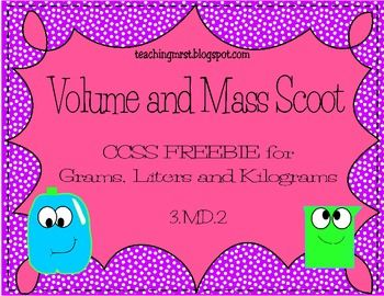 Volume and Mass Scoot~ CCSS  {{Freebie}} Practice volume and mass in a fun way with this Volume and Mass Scoot. It is aligned to CCSS 3.MD.2. Stude…