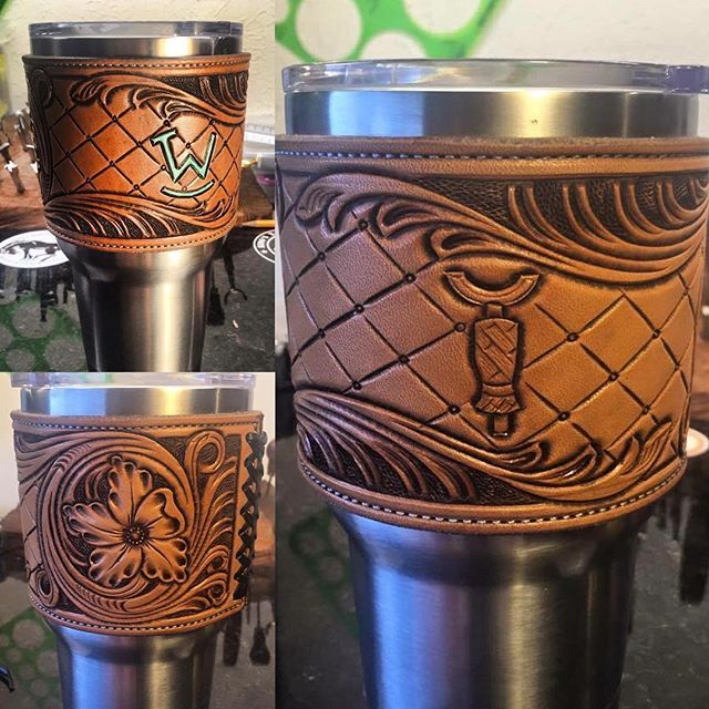 @jkleatherworks  made me and @ropintowin yeti cup covers with the cups! Thanks sir!