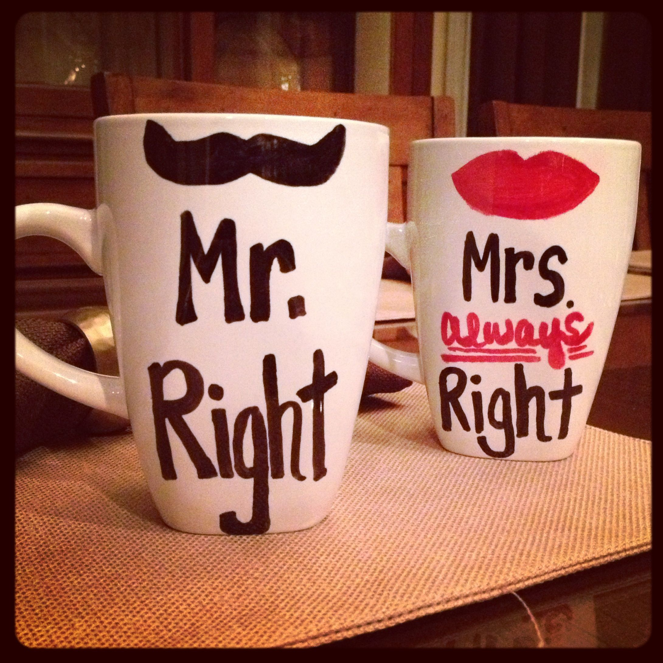 His And Hers Diy Sharpie Mugs  Mr Right And