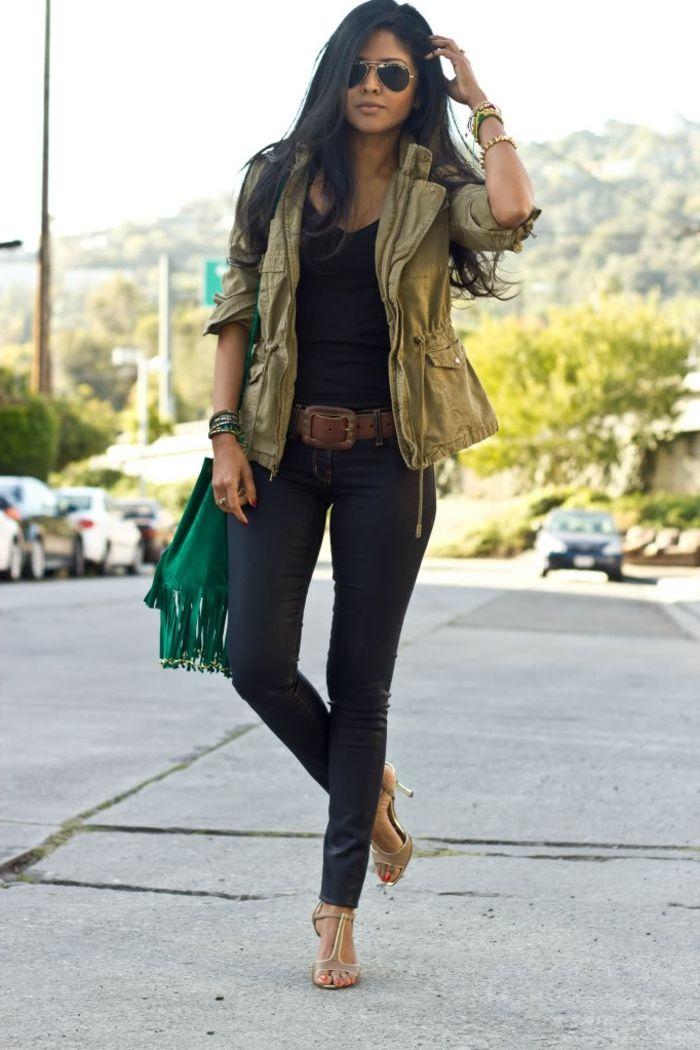 Veste jeans kaki femme