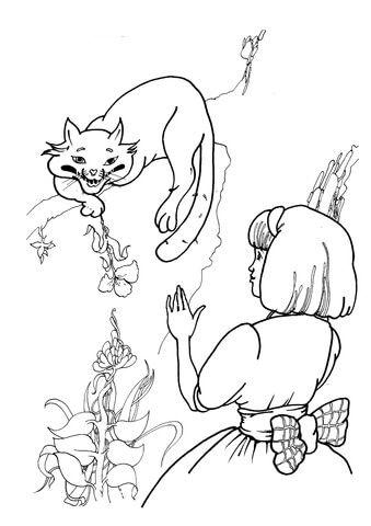 O Gato Que Ri com Alice Página para colorir   BABY   Pinterest   Babies