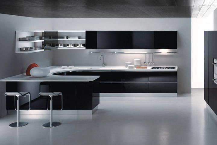 perfect modern white and black kitchen designs that use