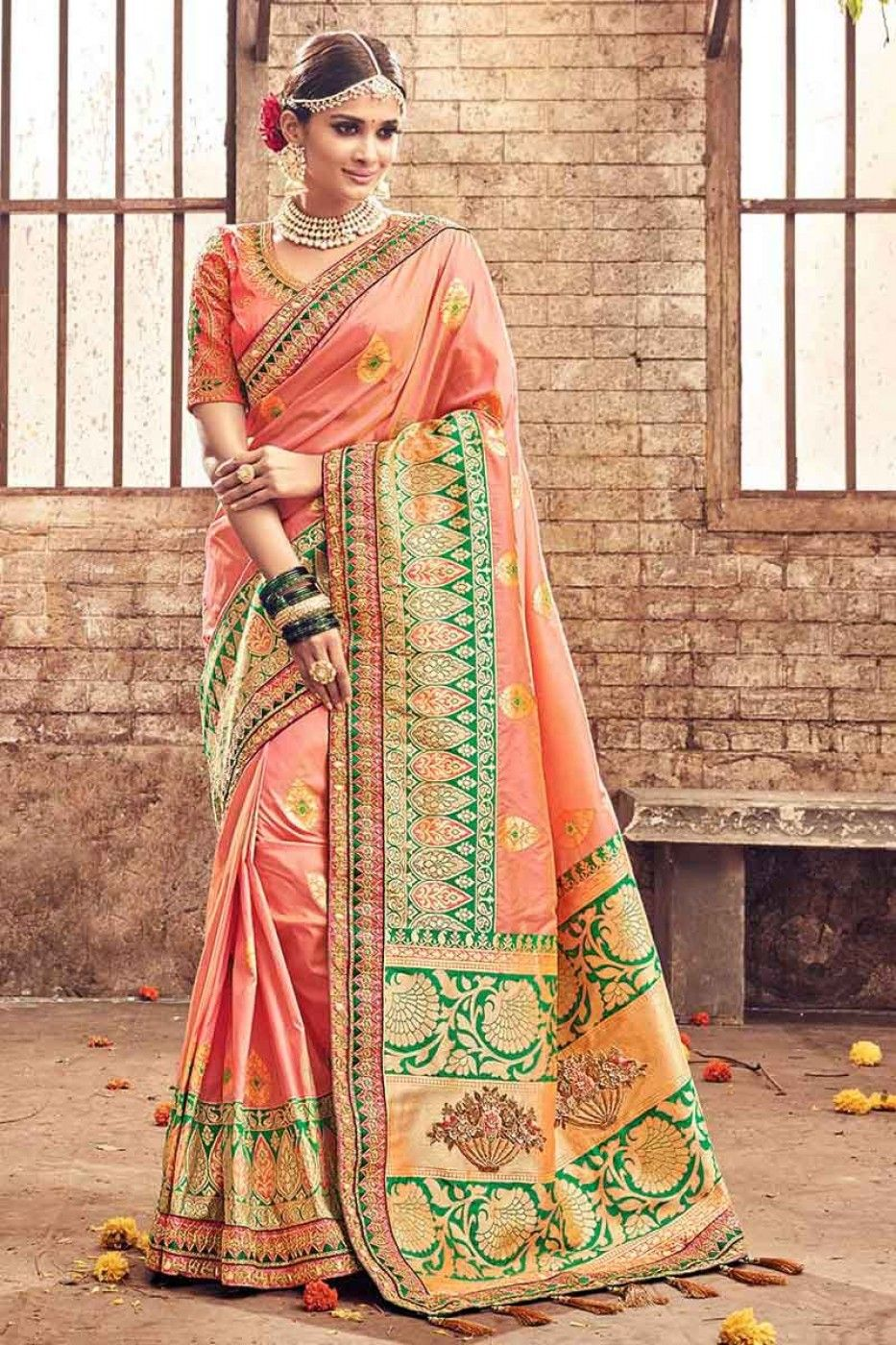 ae520268b Wedding Wear Embroidered Banarasi Silk Fabric Designer Saree In Peach Color  With Designer Blouse