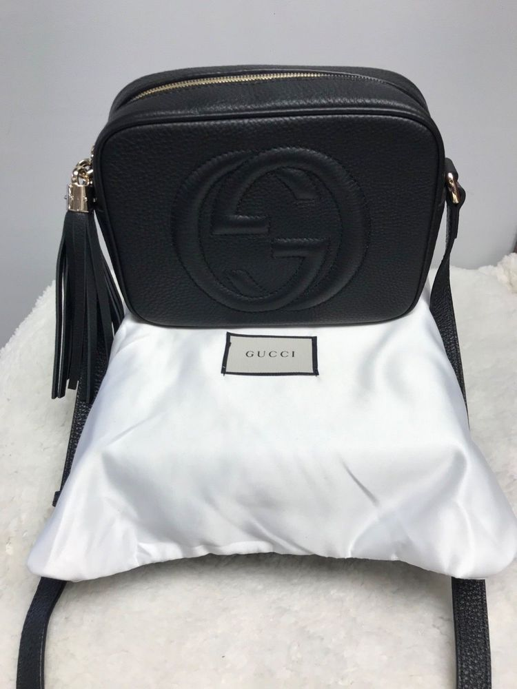 4f0dedce8b5 AUTHENTIC GUCCI SOHO DISCO CROSSBODY BAG IN TEXTURED BLACK LEATHER  fashion   clothing  shoes