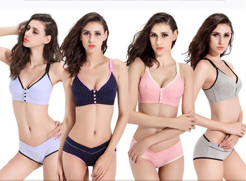 74ca4a2324 Cotton Maternity bra+panties set prevent sagging nurse bra for pregnant  women sports Breastfeeding Nursing Bra underwear clothes