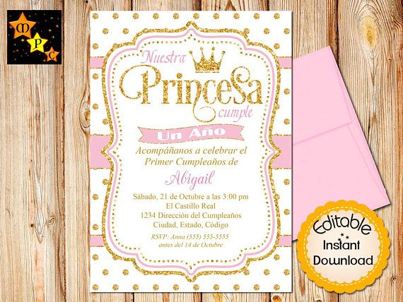 SPANISH Princess First Birthday Invitation Pink And Gold