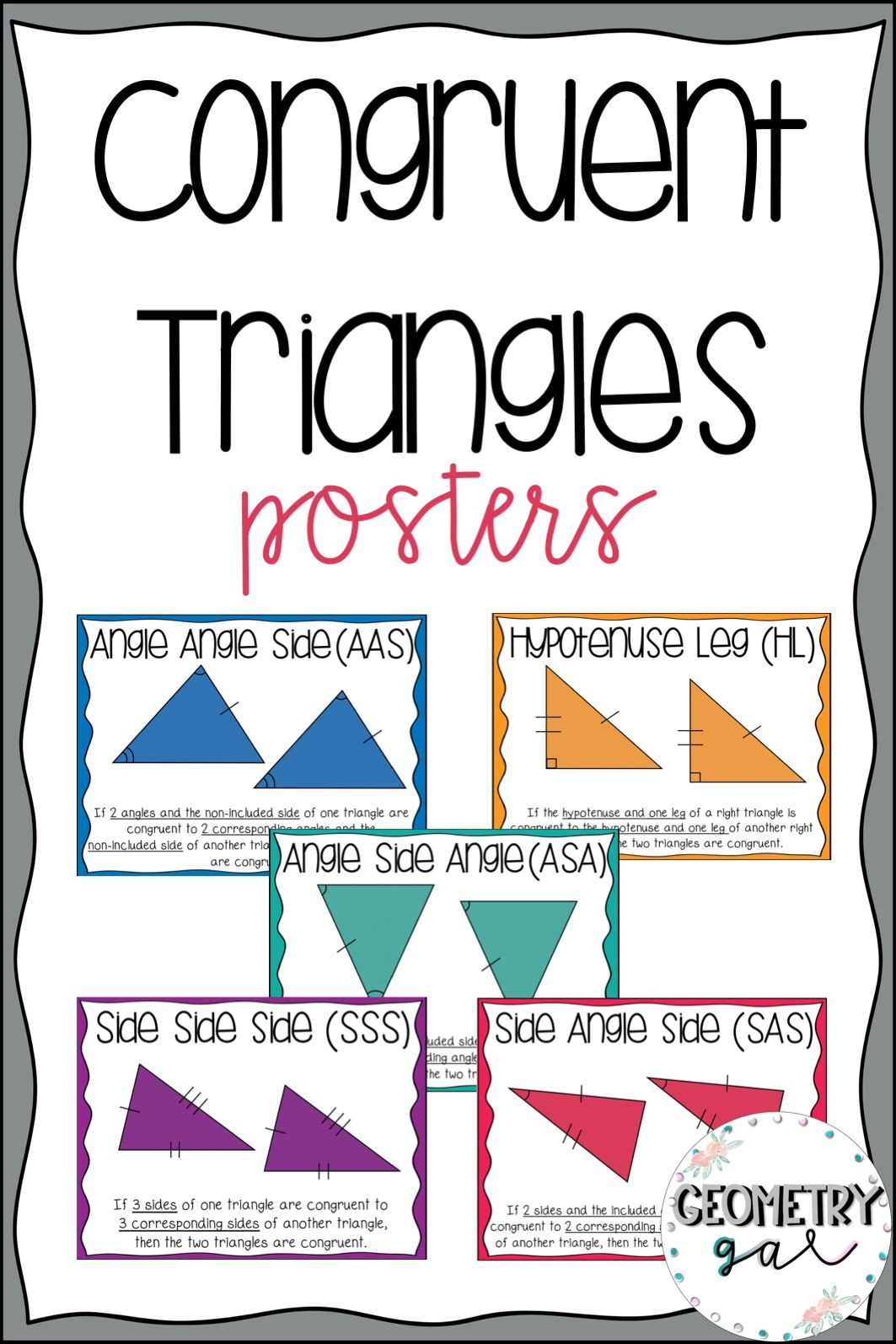 Congruent Triangle Posters Geometry Word Wall