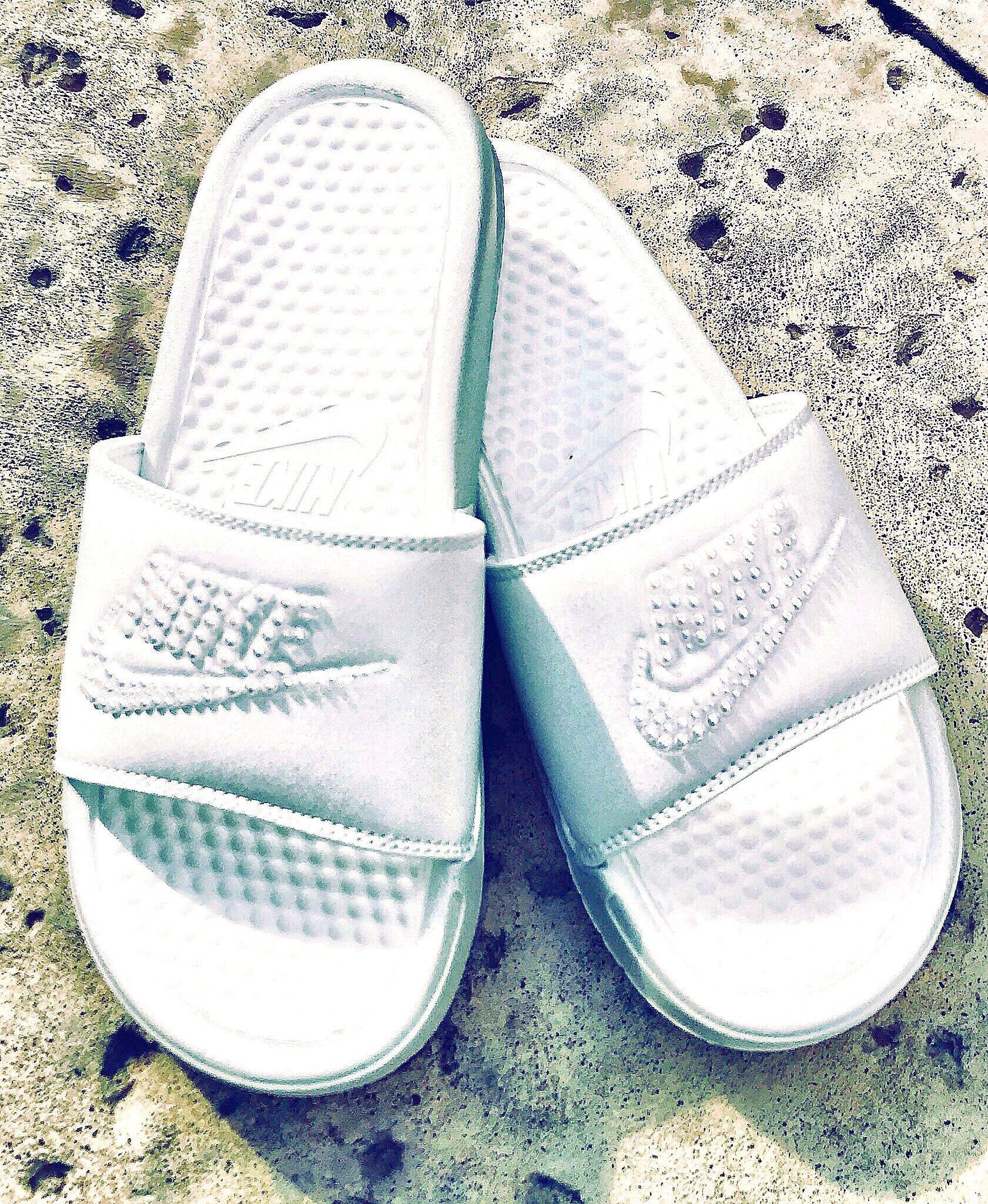 Womens Nike Benassi JDI Slides in White with hand placed Swarovski flatback  pearl details by CrystahhledDesigns 6b9299b62e34