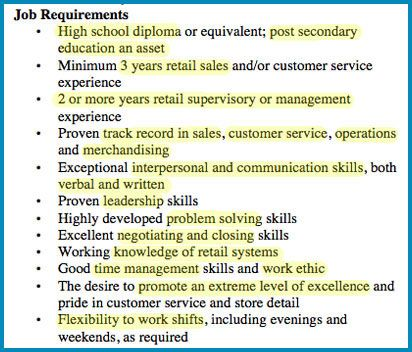 Sample retail manager job ad Adult Living Skills Pinterest - lists of skills for resume