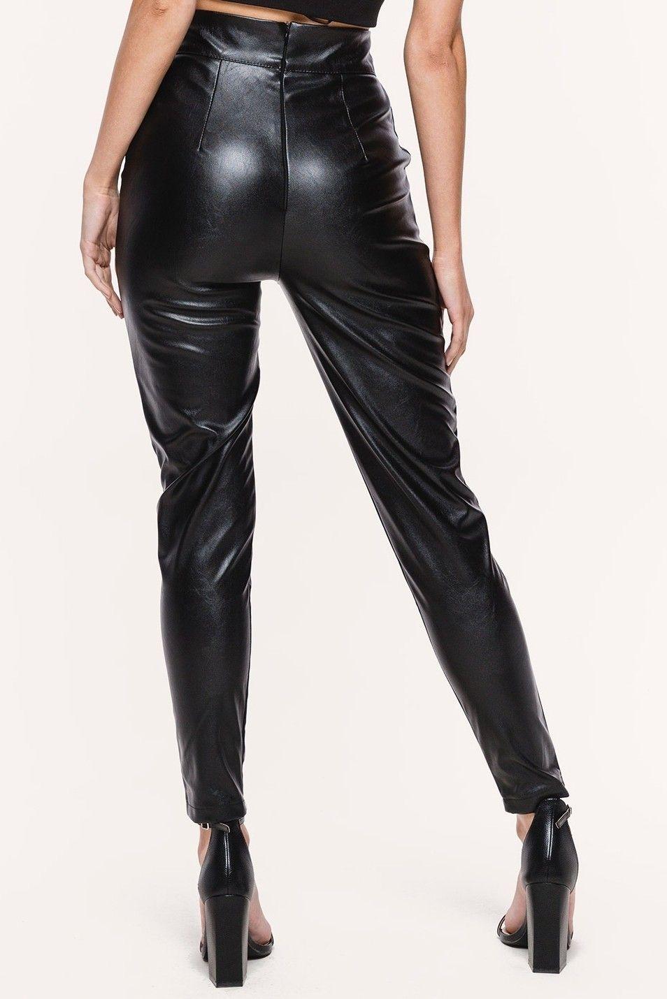 glimmende zwarte broek