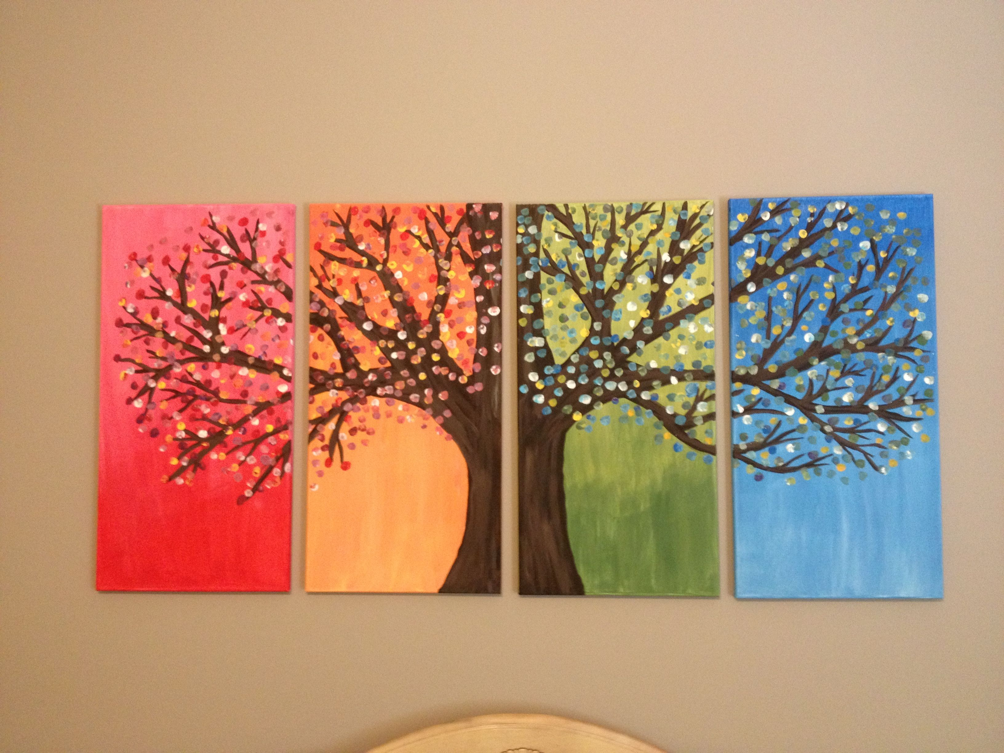 4 seasons so paint each portion of the tree to mirror the season