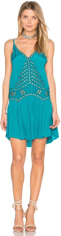 Tiare Hawaii Soho dress @ Revolve. Beautiful teal boho dress with embroidered cut out detail, adjustable shoulder straps. Great for beach vacation or just a warm Summer or Spring day. Resort wear 2017! 2017 Fashion trends (affiliate)