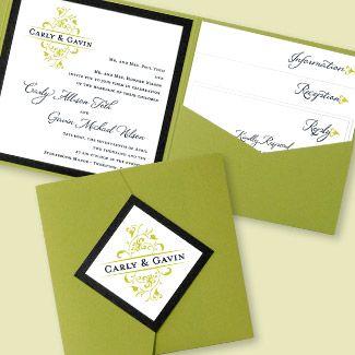 elegant pocket wedding invitation in cream shimmer paper