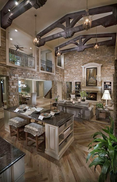 Beautiful Open Concept Stone House House Design Rustic House