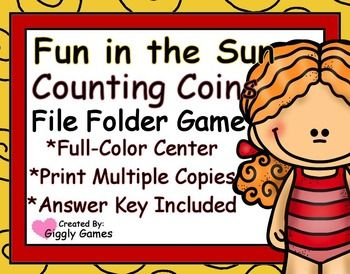 File Folder Game Full-Color Pages Skill: Counting Coins Pages: 7 Each File Folder Game includes a Game and Tab Label with clear easy to follow game instructions, Game Board Sheets, answer key and Game Pieces. Assembly instructions are also included.