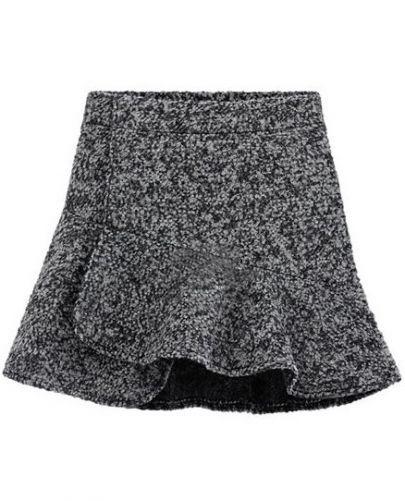 Falda de lana volante cintura alta-Gris claro pictures