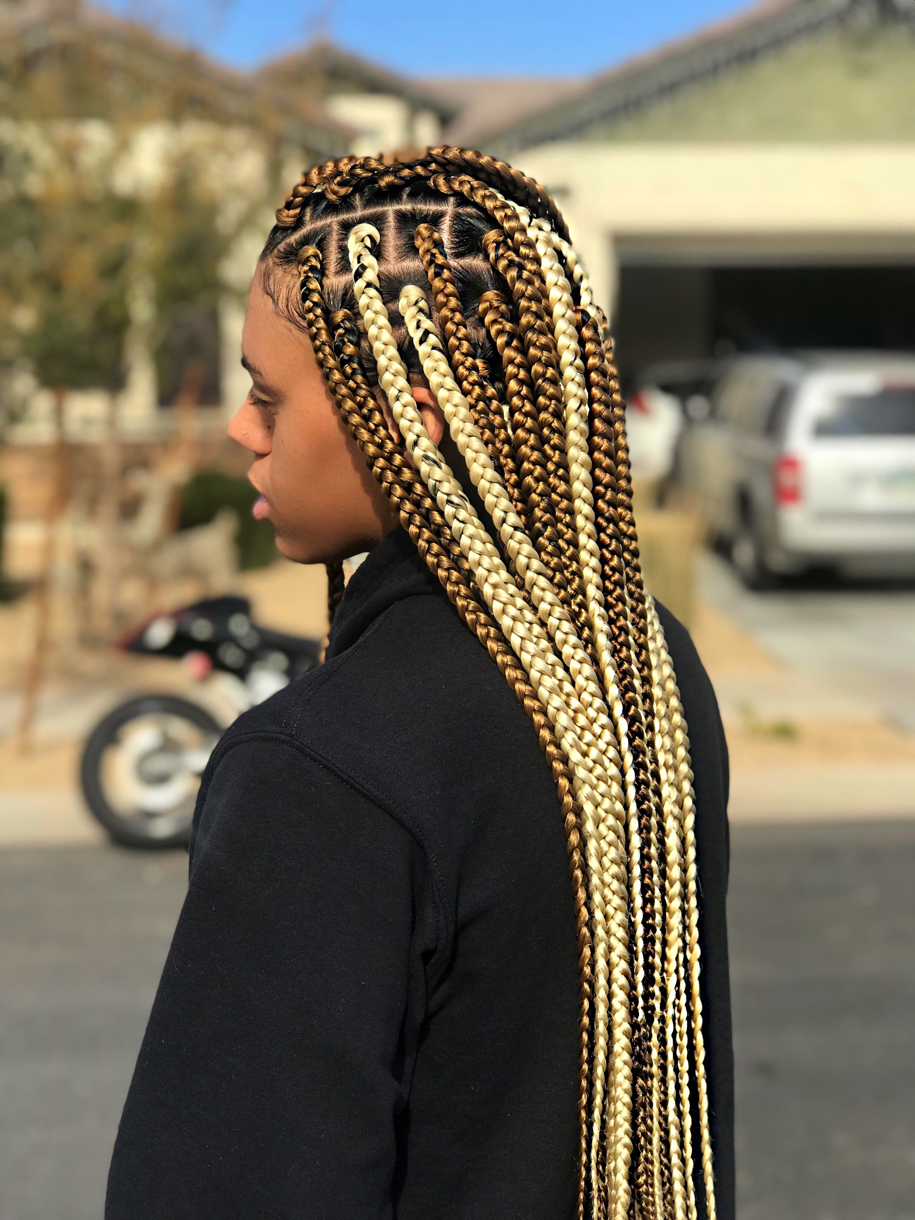 Medium Box Braids Blonde Brown Box Braids Protective