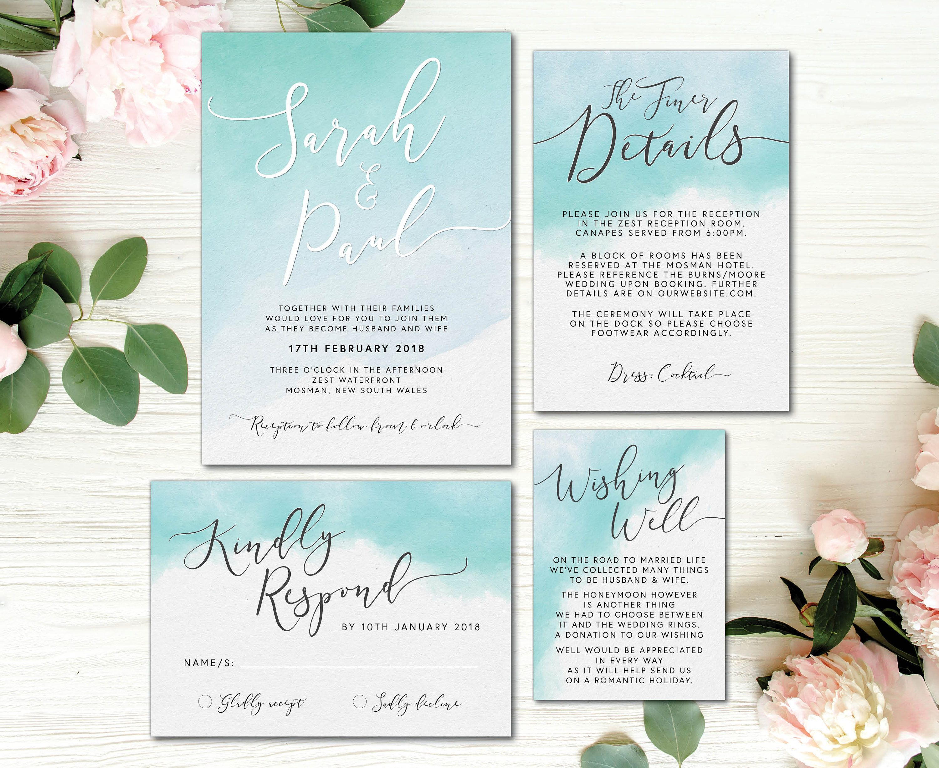 Printed Turquoise Aqua Blue Watercolour Watercolor Wedding Suite W Turquoise Wedding Invitations Easy Diy Wedding Invitations Simple Wedding Invitations