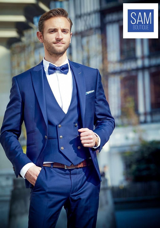 Latest peak lapel royal blue suit by Sam Boutique