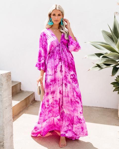 8435c6aa9c8 VICI Exclusive    Our Gypsum Tie Dye Kimono Maxi Dress is giving us